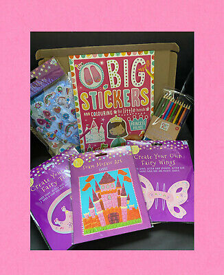 Girls Princess Craft Gift Box - Tiara, Wings, Stickers, Castle, Colour Pencils • 12.99£