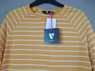 Mustard Stripe T-Shirt Top Size 12 3/4 Sleeve NEW Catalogue Price £15  • 6.50£