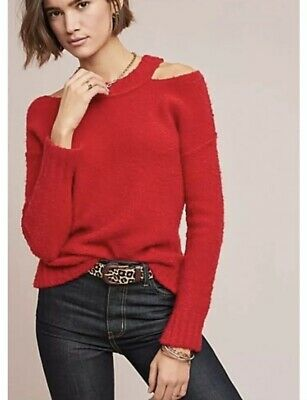 $ CDN38.20 • Buy Anthropologie Sweater Top Size XL Red Nubby Cozy Knit Pullover Tunic Long Sleeve