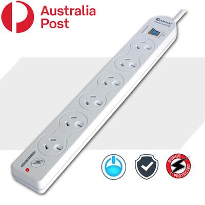 AU21.95 • Buy 6 Outlet Master Switch Surge Protected Power Board Powerboard