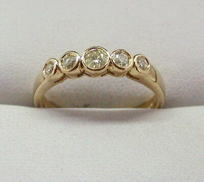 18 Carat Gold Five Stone 1/2 Carat Champagne Coloured Diamond Ring Size N.1/2  • 298£