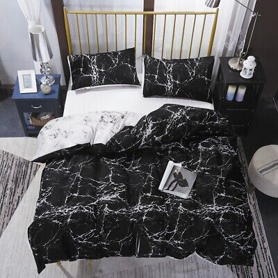 AU27.90 • Buy 3Pcs Black Marble Quilt/Doona/Duvet Cover Bedding Set Double Queen King Size