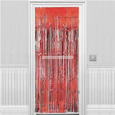 Christmas Red Metallic Fringed Door Curtain Party/ Santas Grotto Decoration 2.4m • 5.99£