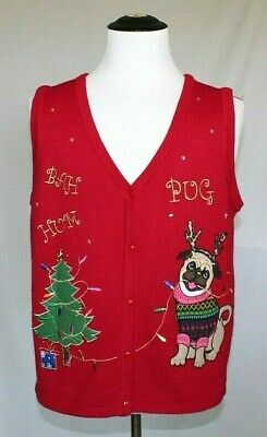 $24.99 • Buy Butt Ugly Christmas Sweater Mens Large Womens XL Bah Humpug Vest T06