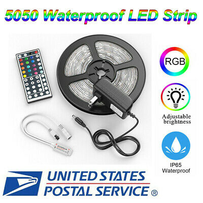 $14.59 • Buy 5M 16.4ft RGB 5050 Waterproof SMD LED Strip Light+44 Key(Include Battery)+Power