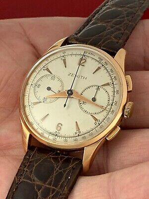 $ CDN1388.10 • Buy VINTAGE 1940's ZENITH CHRONOGRAPH 18K ROSE GOLD MEN'S WRIST WATCH RARE!