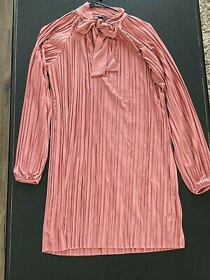 $5 • Buy Zara Pleated Dress Womens Size Small Pink/Salmon Color BRAND NEW!! WITH TAGS