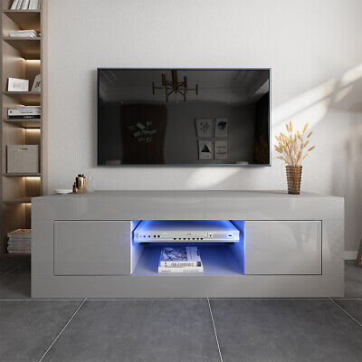 Grey 125cm TV Unit Cabinet Stand High Gloss Doors Storage Sideboard + LED Lights • 95£