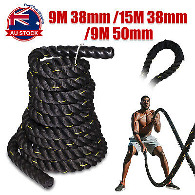 AU96.98 • Buy 9M 15M Heavy Home Gym Battle Rope Battling Strength Training Exercise Fitness  A