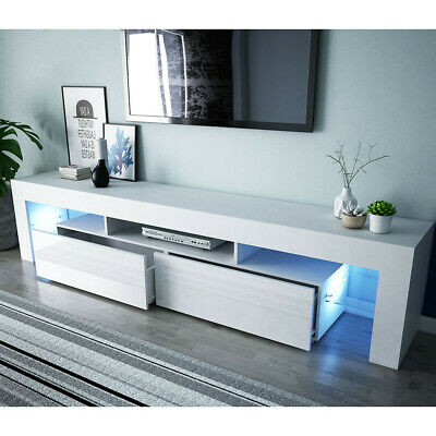 200cm White Plug Cabinet TV Unit Stand Sideboard High Gloss Door 2 Drawer LED • 119.99£