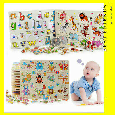 £5.95 • Buy Wooden Puzzle Baby Kids Toddler Jigsaw Alphabet Letters Animal DIY Learning Toys