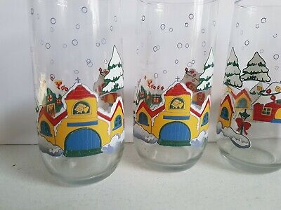 $ CDN3.54 • Buy Tumbler Drinking Glass Lot Of 4 Vintage Christmas