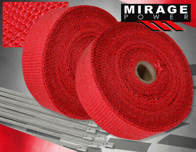 $39.99 • Buy 30 Feet Exhaust Header Forced Induction Piping Heat Wrap Cover+Stainless Tie Red