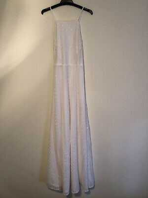 AU35 • Buy Kimchi Urban Outfitters White Embroidered Lace Backless Maxi Dress Size Small