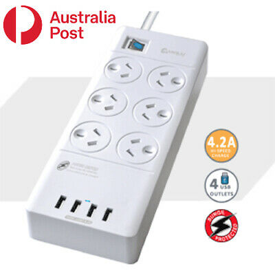 AU30.99 • Buy 6 Outlet Surge Protected USB Power Board Powerboard