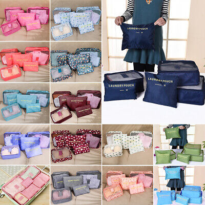 AU21.49 • Buy 6Pcs Packing Cubes Travel Pouch Luggage Organiser Clothes Suitcase Storage Bags