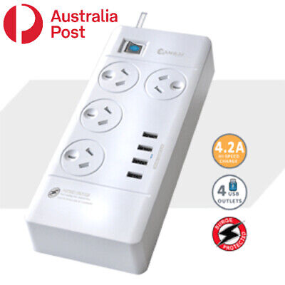 AU27.99 • Buy 4 Outlet Surge Protected USB Power Board Powerboard