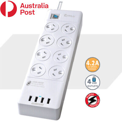 AU36.99 • Buy 8 Outlet Surge Protected USB Power Board Powerboard