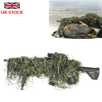 3D Camouflage Rifle Gun Wrap Cover Woodland Forest Ghillie Suit Hunting UK STOCK • 9.99£
