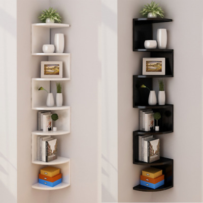 3/5 Tier Wooden Floating Wall Shelves Corner Storage Display Bookcase Rack Decor • 18.99£