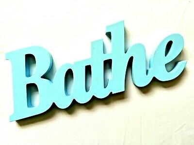 Wooden Freestanding Bathroom Bathe Sign Word Art Large Blue Letters Bath NEW • 3.99£