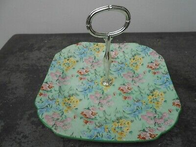 Shelley Melody Chintz Large Art Deco Cake Plate Stand • 9.99£