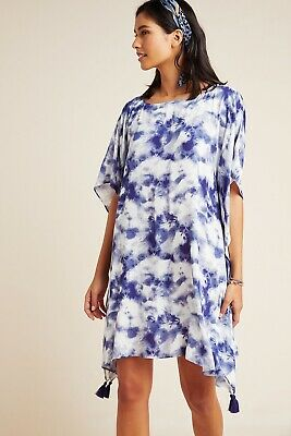 $ CDN95.24 • Buy Anthropologie NICOLA Blue Tie Dye Tasseled Caftan Size Large $128 NWT