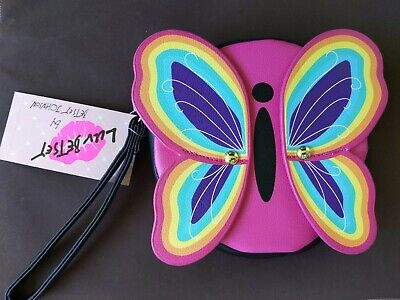$18.90 • Buy Betsey Johnson Luv Betsey Hot Pink Rainbow Butterfly Coin Purse/Wristlet NWT