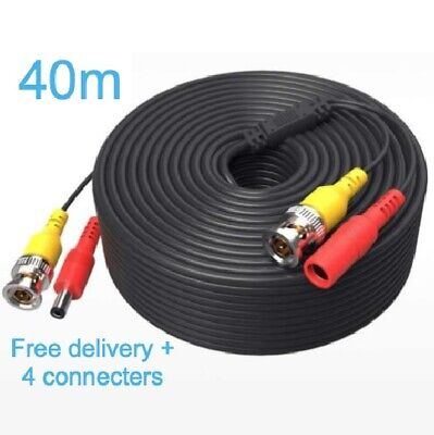 BNC CCTV Security DVR Extension Cable Video Camera Data DC Power Lead 40m • 9.99£