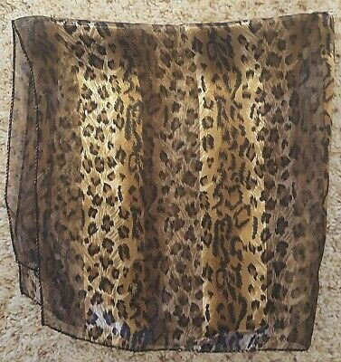 $5.95 • Buy New Leopard Cheetah  Scarf Black & Browns  Mask Bandanna Animal Print