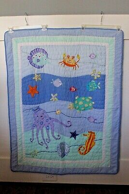 $25 • Buy Baby Crib Bedding Quilt Blanket Sea Life Ocean Fish Embroidered Gingham Kidsline