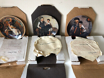 $ CDN25.88 • Buy Set Of 3 Edwin M. Knowles Collectible Plates Norman Rockwell Designs