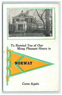 $14.80 • Buy 1913 Norway Maine Pennant Souvenir Postcard Greeting Come Again