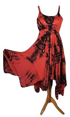Plus Tie Dye Maxi Pixie Hem Dress Red And Black Double Layer Lace Up 18 20 22 24 • 27.99£