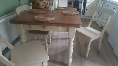 Set Of 4 Cottage Kitchen  Dining Chairs Painted In Annie Sloane • 20£