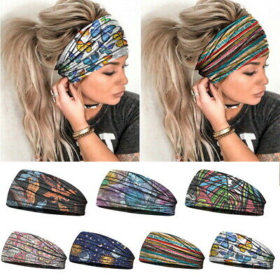 $2.49 • Buy Women Wide Elastic Turban Headwraps Stretch Headband Sports Yoga Gym Hair Band