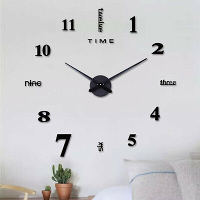 AU14.87 • Buy Modern DIY 3D Large Number Wall Clock Mirror Sticker Decor Home Office Room