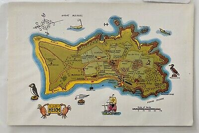 1958 Herm Island Post Card With 4x Stamps Capt. T.M. Jarvis Guernsey 3d Stamp • 2£