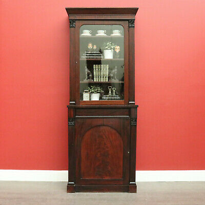 AU1250 • Buy Antique Bookcase, Australian Cedar 2 Height Narrow Bookcase China Cabinet