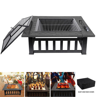 Outdoor Large Fire Pit BBQ Garden Square Table Stove Patio Heater & Grill Shelf • 99.90£