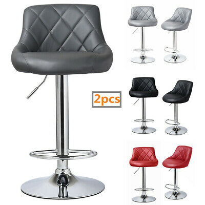 Set Of 2 Bar Stools Leather Swivel Gas Lift Chair Kitchen Breakfast Pub 5 Colour • 62£
