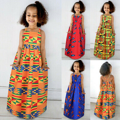 Toddler Kids Girls African Dashiki 3D Digital Print Suspenders Dress Boho SKirt • 8.99£