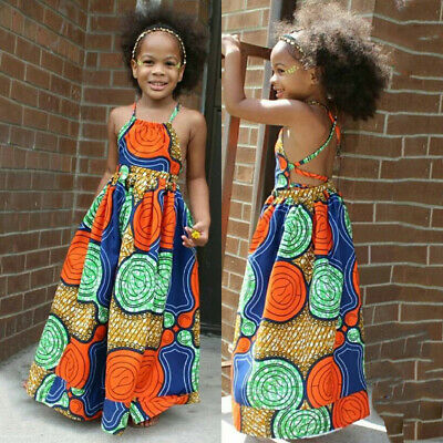 Kid Girls African Dashiki 3D Digital Print Backless Sleeveless Princess Dress UK • 7.99£