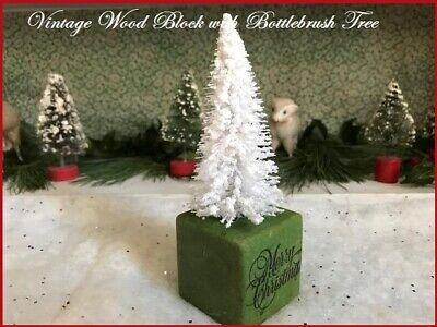 $ CDN20.30 • Buy Primitive Antique Vtg Wood Child's Toy Merry Xmas Block & White Bottlebrush Tree