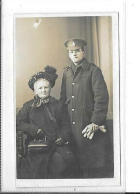 WW1 Photographic Postcard Family Group With British Soldier In Uniform • 2£
