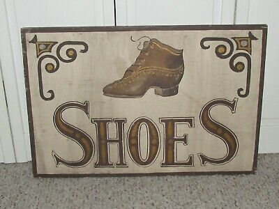$ CDN87.97 • Buy Vintage~Primitive~Folk Art~Hand Painted ~ Wood ~ SHOE Sign 24  X 16