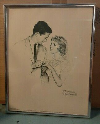 $ CDN42.62 • Buy Norman Rockwell NEWLYWEDS Vintage Original Pencil Drawing SIGNED PRINT