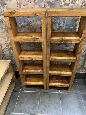 £85 • Buy Chunky Rustic Tall Bookcase, Reclaimed Pine Units Finished In Medium Oak