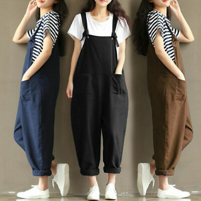 £8.88 • Buy Womens Loose Dungarees Jumpsuit Oversize Baggy Overalls Strappy Harem Trousers