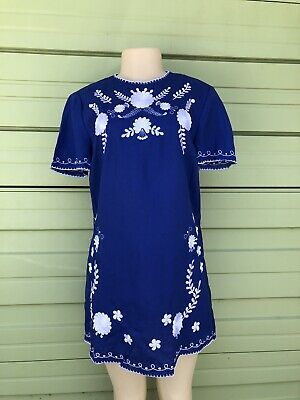 $34.99 • Buy NWT ZARA Women BLUE Mini Shift Dress Embroidered Linen Floral Large  #3611L